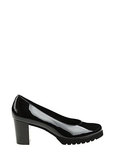 Divarese Deri Kısa Topuklu Ayakkabı Siyah